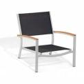 Oxford Garden® Travira Outdoor Beach Chair - Black Sling - Teak Armcaps (2 pk)