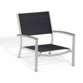 Oxford Garden® Travira Outdoor Beach Chair - Black Sling - Tekwood Vintage Armcaps (2 pk)