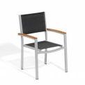 Oxford Garden® Travira Outdoor Armchair - Black Sling - Tekwood Natural Armcaps (4 pk)
