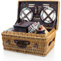 Picnic Time Carnaby Street Hand Crafted Willow Picnic Basket w/ Accessories for Four