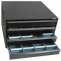 "Ball Bearing Slide Modular Drawer Cabinet (4) 3"" Drawers, Black"