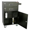 Mobile Service Cart Cabinet, 2 Drawer with Bottom Storage