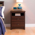 Prepac Manufacturing Espresso Fremont Tall 2 Drawer Nightstand with Open Shelf