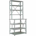 "Erectomatic® Open Ledge Unit, Starter, 36""W X 18"" Above/24"" Below D X 87""H, Gray"