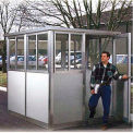 8' x 8' Pre-Assembled Security Building, Integral Roof - Champagne, Swing Door