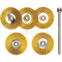 Brass Wheel Brushes, 5 Pcs., Ø 7/8