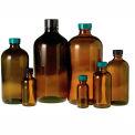Qorpak GLC-01967 8oz (240ml) Amber Boston Round Bottle with 24-400 Black Phenolic Cap, Case of 24