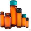 Qorpak GLC-06787 Amber Glass Screw Thread Sample Vials with Green Caps, 1 dram (4ml), Case of 144