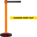 Orange Post Safety Barrier, 7.5ft, Danger Belt - Pkg Qty 2