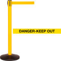 Yellow Post Safety Barrier, 7.5ft, Danger Belt - Pkg Qty 2