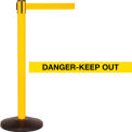 Yellow Post Safety Barrier, 11 Ft., Danger Belt - Pkg Qty 2