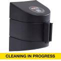 WallPro 450 Black Wall Mount Retracting Barrier, 30' Yellow/Black CLEANING IN PROGRESS Belt