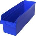"Quantum Plastic Shelf Bin QSB814 Nestable, 8-3/8""W x 23-5/8""D x 8""H, Blue - Pkg Qty 6"