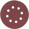 "Bosch SR5R125, 5"" Hook & Loop Sanding Disc, 8-Hole, Red, 120 Grit (50Pk)"