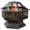UniFlame® Outdoor Firebowl With Lattice WAD1377SP, Hex Shaped, Oil Rubbed Bronze