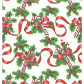 "Gift Wrap Paper, Red Ribbons & Canes, 100'L X 24""W"