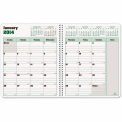 Blueline® DuraGlobe Monthly Planner, Soft Corinth Cover, 11 x 8-1/2, Red, 2015