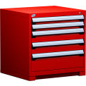 "5 Drawer Bench High 30""W Heavy-Duty Cabinet - Red"