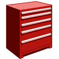 "5 Drawer Counter High 36""W Heavy-Duty Cabinet - Red"