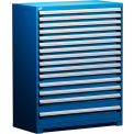 """Rousseau Metal Heavy Duty Modular Drawer Cabinet 15 Drawer Full Height 48""""W - Avalanche Blue"""