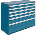 "6 Drawer Counter High 60""W Heavy-Duty Cabinet - Everest Blue"