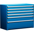 "6 Drawer Counter High 60""W Heavy-Duty Cabinet - Avalanche Blue"