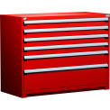 "6 Drawer Counter High 60""W Heavy-Duty Cabinet - Red"