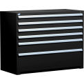 "6 Drawer Counter High 60""W Heavy-Duty Cabinet - Black"