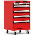 "5 Drawer Heavy-Duty Mobile Cabinet - 24""Wx21""Dx39-1/4""H Red"