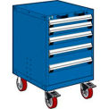 "5 Drawer Heavy-Duty Mobile Cabinet - 24""Wx27""Dx37-1/2""H Avalanche Blue"
