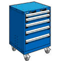 "5 Drawer Heavy-Duty Mobile Cabinet - 24""Wx27""Dx35-1/4""H Avalanche Blue"