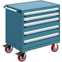 "5 Drawer Heavy-Duty Mobile Cabinet - 30""Wx21""Dx37-1/2""H Everest Blue"