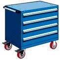"4 Drawer Heavy-Duty Mobile Cabinet - 36""Wx18""Dx35-1/2""H Avalanche Blue"