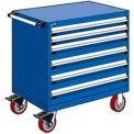 "6 Drawer Heavy-Duty Mobile Cabinet - 36""Wx18""Dx37-1/2""H Avalanche Blue"