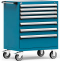 """Rousseau Metal 7 Drawer Heavy-Duty Mobile Modular Drawer Cabinet - 36""""Wx24""""Dx45-1/2""""H Everest Blue"""