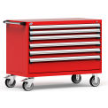 "6 Drawer Heavy-Duty Mobile Cabinet - 48""Wx24""Dx37-1/2""H Red"