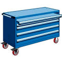 "4 Drawer Heavy-Duty Mobile Cabinet - 60""Wx27""Dx37-1/2""H Avalanche Blue"