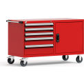 "5 Drawer Heavy-Duty Double Mobile Cabinet - 60""Wx27""Dx37-1/2""H Red"