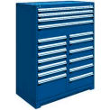"17 Drawer Full Height 48""W Multi-Drawer Cabinet - Avalanche Blue"