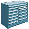 "13 Drawer Counter High 48""W Multi-Drawer Cabinet - Everest Blue"