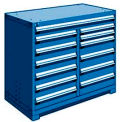 "13 Drawer Counter High 48""W Multi-Drawer Cabinet - Avalanche Blue"