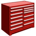 "13 Drawer Counter High 48""W Multi-Drawer Cabinet - Red"