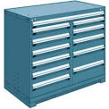 "12 Drawer Counter High 48""W Multi-Drawer Cabinet - Everest Blue"