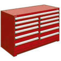 "11 Drawer Counter High 60""W Multi-Drawer Cabinet - Red"