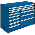 "12 Drawer Counter High 60""W Multi-Drawer Cabinet - Avalanche Blue"