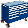 "9 Drawer Mobile Multi-Drawer Cabinet - 48""Wx24""Dx37-1/2""H Avalanche Blue"