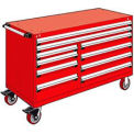 "10 Drawer Mobile Multi-Drawer Cabinet - 60""Wx24""Dx37-1/2""H Red"