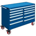 "11 Drawer Mobile Multi-Drawer Cabinet - 60""Wx24""Dx41-1/2""H Avalanche Blue"