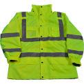 Petra Roc 3-In-1 Waterproof Parka Jacket, ANSI Class 3, 300D Oxford Shell/Fleece Lining, Lime, 3XL