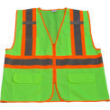 Petra Roc Two Tone DOT Safety Vest, ANSI Class 2, Polyester Solid, Lime/Orange, 4XL/5XL